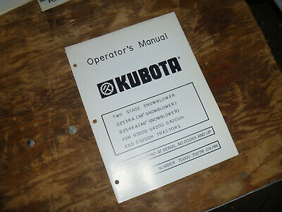 Kubota G2546a Two Stage Snowblower For G3200 G4200 Operator Maintenance Manual