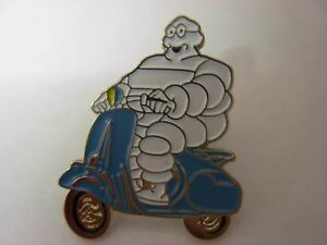 Michelin Man on Scooter pin badge. Lambretta. Vespa. Mods. Advertising
