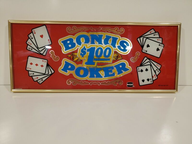 "IGT BONUS $1.00 POKER  Casino Game Glass Sign Man Cave 17.5"" x 7.5"""