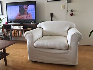 Comfy white cloth armchair Marrickville Marrickville Area Preview