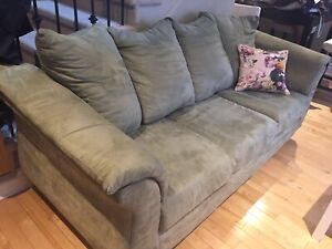 Sage green couch and matching love seat