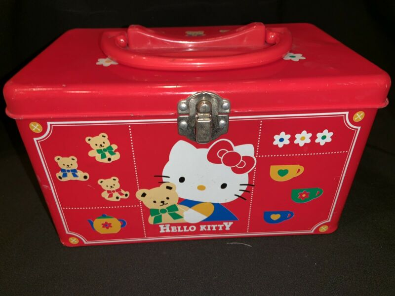Hello Kitty Metal Tin Lunchbox Trinket Box Sanrio Collectible Vintage 1996