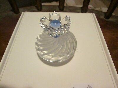 Swarovski Sliver Crystal Blue Flower Jewelry Trinket Box