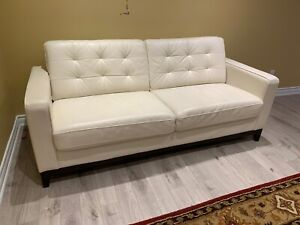 "Modern IVORY WHITE LEATHER COUCH 80"" x 34"""