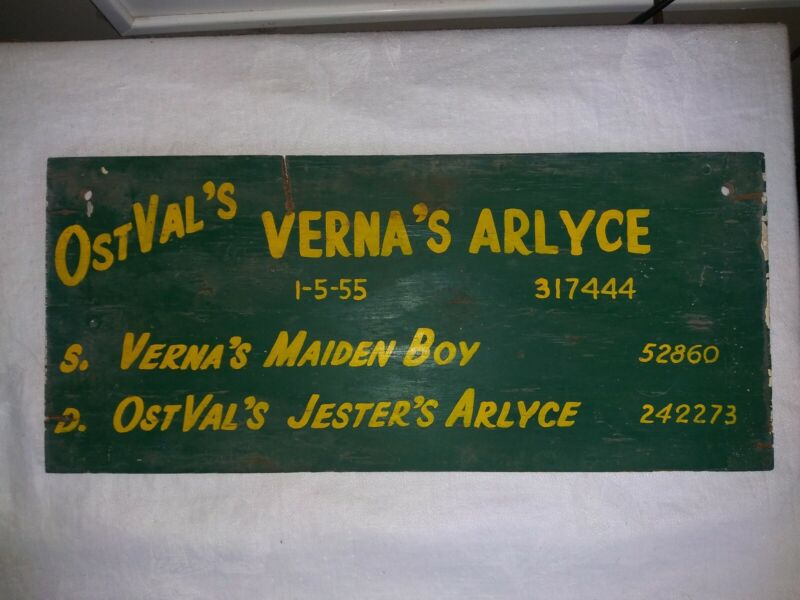 1955 Wood Cattle Cow Stall Sign Wisconsin County State Fair VERNA