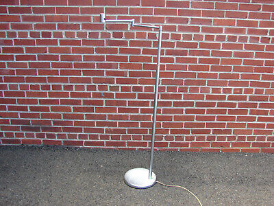 MID CENTURY MODERN NESSEN BRUSHED ALUMINUM SWING ARM FLOOR LAMP