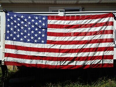 LARGE. AMERICAN FLAG 100% COTTON EMBROIDERED 5' X 9.5' Cotton Embroidered American Flag