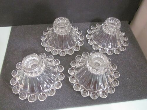 Vintage Anchor Hocking Boopie Clear Glass Berwick Beaded Candlestick Holders Lot