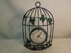 Westclox Metal Birdcage Shaped Quartz Wall or Shelf Clock Ivory Leaves Design