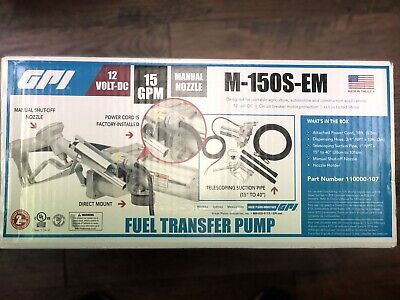 Gpi 12v Fuel Transfer Pump 15 Gpm M-150s-em Free Shipping