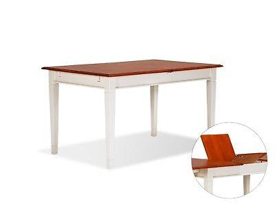 Esstisch 180x90 220x90 Holz Pinie cremeweiß braun Landhaus Tisch massivum Cannes