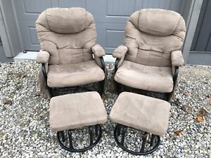 Two Matching Glider Rockers & Foot Stools