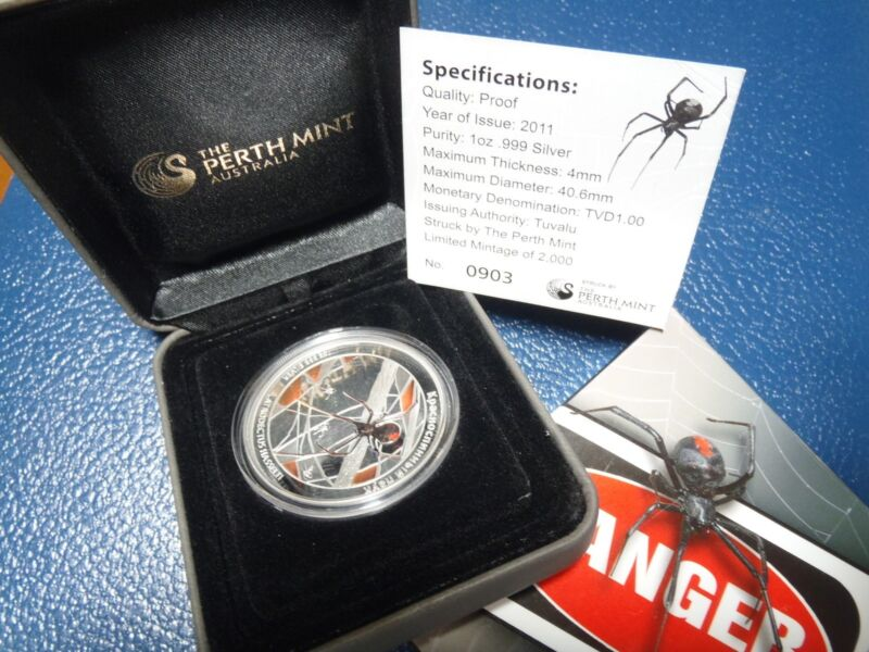 Tuvalu RED BACK SPIDER Perth Mint 1$ .999 Silver Coin 1oz Deadly and Dangerous