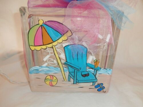 HAND PAINTED 8 X 8 LIGHTED GLASS BLOCK IN BEACH CHAIR AND UMBRELLA DESIGN