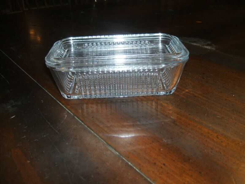 Vintage Refrigerator Glass Dish with Lid Clear Ribbed Nice