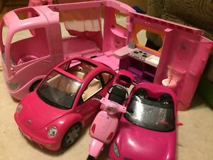 Barbie camper van, convertible, scooter, dolls