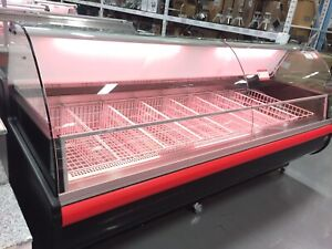 Meat showcases, open merchandiser, salad and sweets display