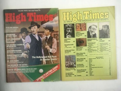 HIGH TIMES MAGAZINE 2 ISSUES JUNE 1978, #34 AND OCTOBER 1978, #38