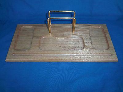Desk Organizer Light Beige Wood Brass Letter Holder Wooden Tray Clips Etc.