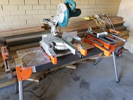 Makita 255mm radial arm  drop saw with stand