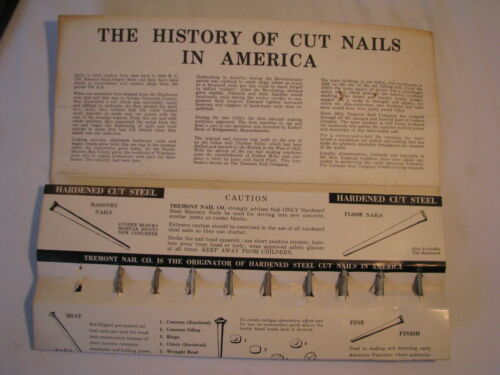 VINTAGE TREMONT NAIL CO HISTORY OF CUT NAILS IN AMERICA 19 SAMPLE NAILS