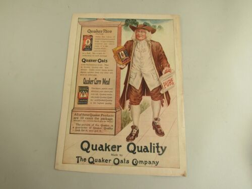 Vintage Early 20th Century Quaker Oats Magazine Ad
