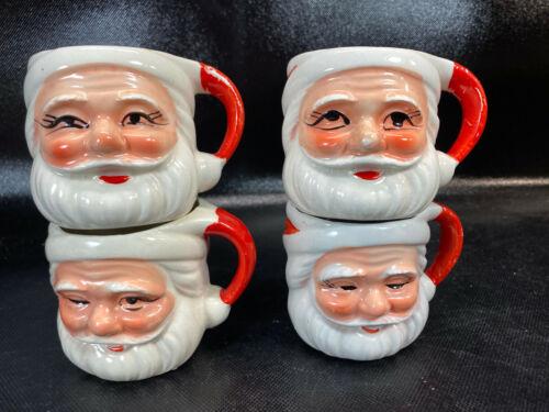 Vtg Set Of 4 Mini Winking Santa Mugs Japan Chirstmas cups