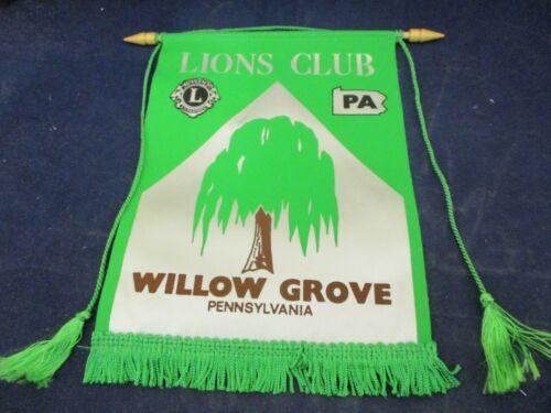 Vintage Lions Club International Banner Flag Willow Grove Pennsylvania