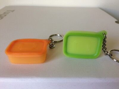 TUPPERWARE 2 BASELINE CANNISTER KEYCHAINS. VERY RARE. BRAND NEW Tupperware Cannister