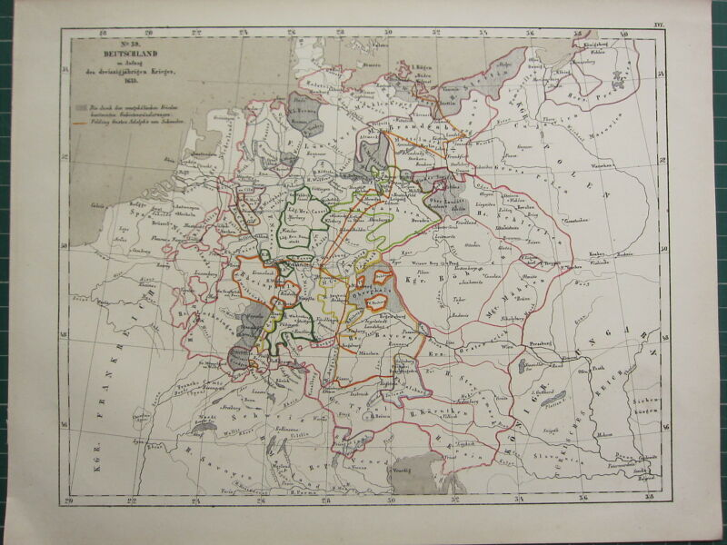 1875 ANTIQUE HISTORICAL MAP ~ GERMANY (1618) WAR KRIEGES ADOLPH