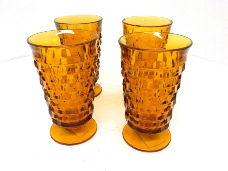 VINTAGE INDIANA WHITEHALL AMBER GLASSES SET OF 4 10 OUNCE GLASSES