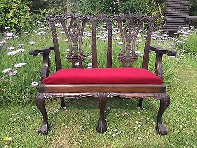 Chippendale Style Reproduction Children's Bedroom/ Toy Room Hardwood Bench