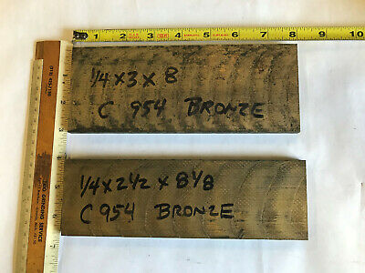 2pc Lot - 954 Bronze Oversize Flat Bar 14 Thick X 2.5 And 3 Wide X 8