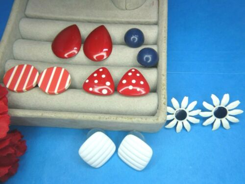 RARE Lucite Plastic Pierced  Earrings Red White Blue Stripe Polka Dot Lot Daisy