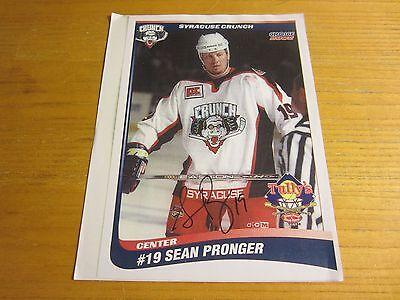 Sean Pronger Autographed Signed 8.5X11 Photo AHL Hockey Syracuse Crunch