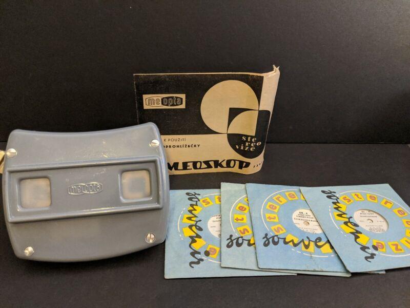 Vintage Meoskop carousel slide viewer & 4 disks instructions