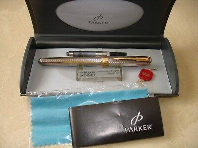 PARKER SONNET PREMIER 'Fougére' Sterling Fountain Pen in Box