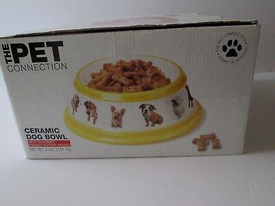 THE PET CONNECTION Large CERAMIC DOG BOWL Dish NEW Microwave & Dishwasher Safe