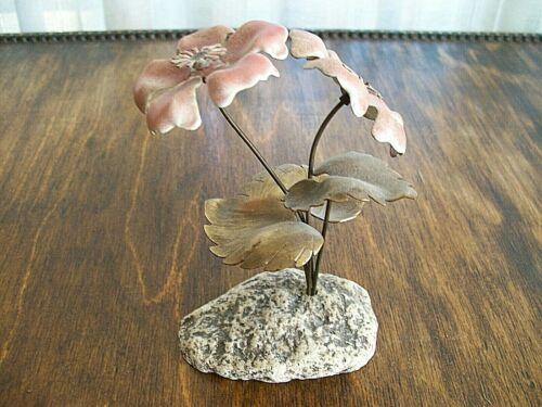 Vintage Bovano of Cheshire Enamel Metal Pink Flowers(2) Art Sculpture