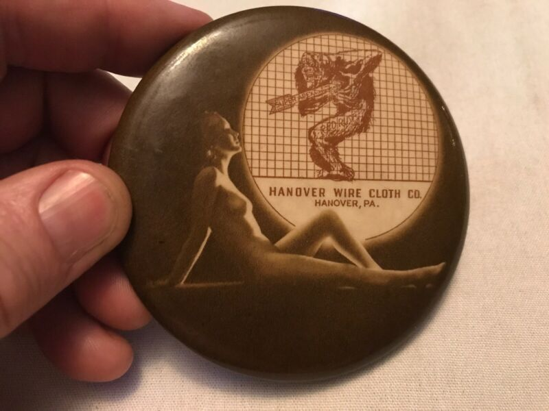 Hanover Wire Chain Co. Hanover, Pa. Vintage Celluloid Mirror Paperweight