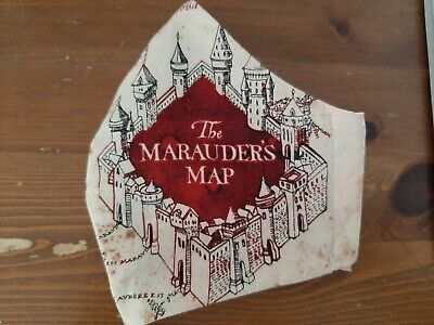 Harry Potter Map-Mund-Nasen-Schutz/BW -Masken Gr.XXL/beige/beere/Brillenträger !
