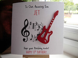 Guitar birthday card ebay handmade personalised guitar male birthday card son dad boyfriend husband bookmarktalkfo Choice Image