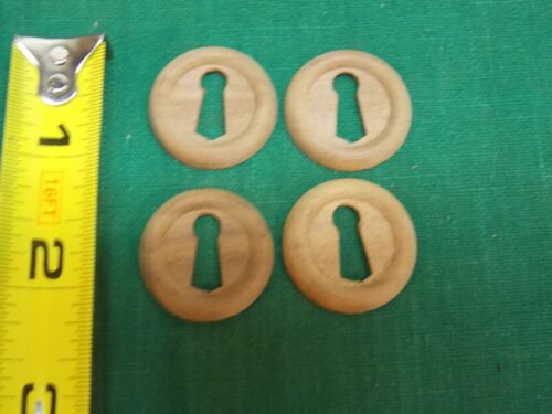 """Lot of 4 Wood wooden 1"""" key hole cover plate escutcheon. Furniture drawer"""