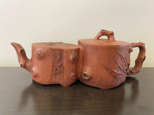 Vintage beautiful Chinese Zisha Clay Teapot Carving pine trees