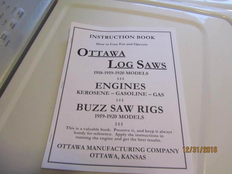 Ottawa Gas/kero  Engine Log Saw/ buzz saw Instruction book manual