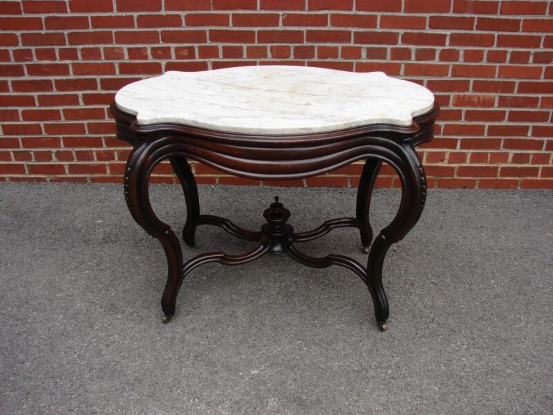 VICTORIAN ROSEWOOD MARBLE TURTLE TOP TABLE BELTER MEEKS ERA