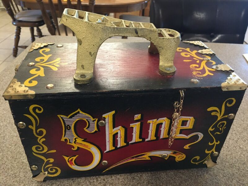 "VTG Shoe Shine Box Wood & Metal ""5 Cent Shine"" Circus Carnival Theme w/contents"