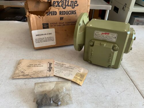 Grove Gear Flexaline BMQ206 Worm Gear Speed Reducer 56C 40:1 Ratio, NOS