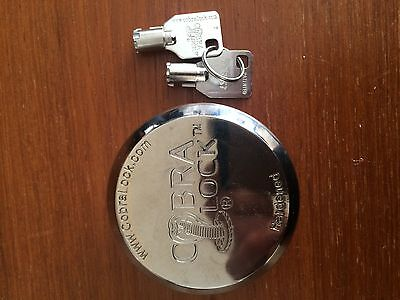 Two 2 Cobra Round Tubular Key- Hidden Shackle Puck Padlock New Keyed Alike