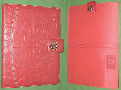 8.5x11 Note Pad Red Reptile Heart S-leather Buxton Binder Monarch Franklin Covey